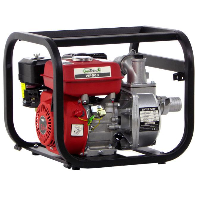 Selbstansaugende Benzinmotorpumpe GeoTech WP500, 50 mm – 2″ Anschlüsse – Wasserpumpe
