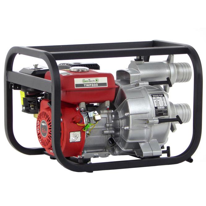 Selbstansaugende Benzinmotorpumpe GeoTech TWP 800 für Schmutzwasser, 80 mm Anschlüsse