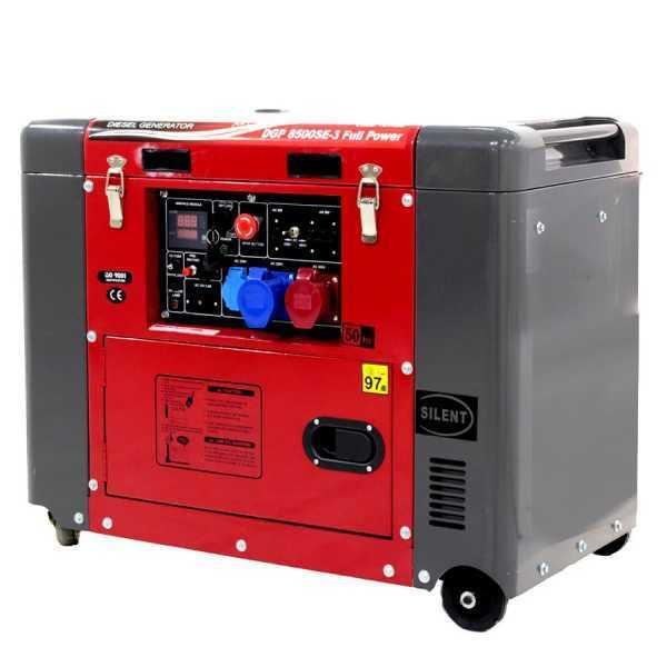 Generatore di corrente 5,5 kW trifase diesel GeoTech Pro DGP8500SE-3 Full-power silenziato avv. elettrico