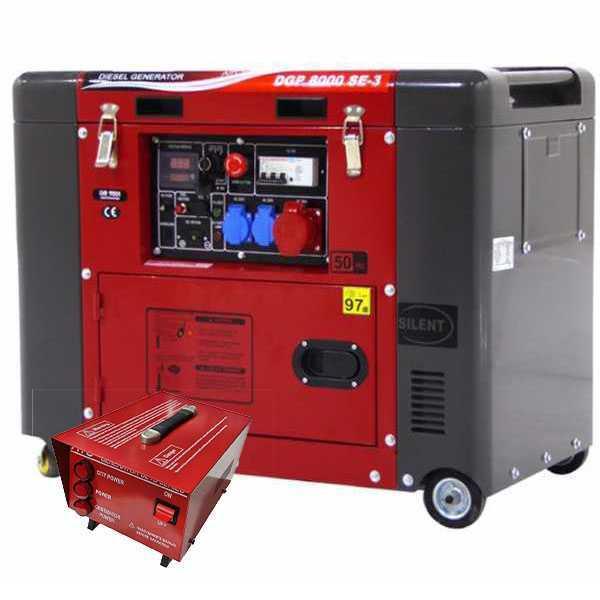 Generatore di corrente 5,5 kW trifase diesel GeoTech Pro DGP8000SE-3 silenziato + quadro ATS