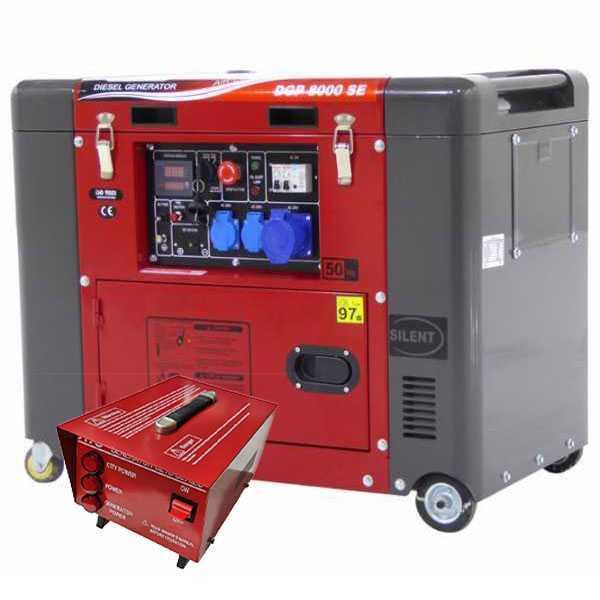 Generatore di corrente 5,5 kW monofase diesel GeoTech Pro DGP8000SE silenziato + quadro ATS