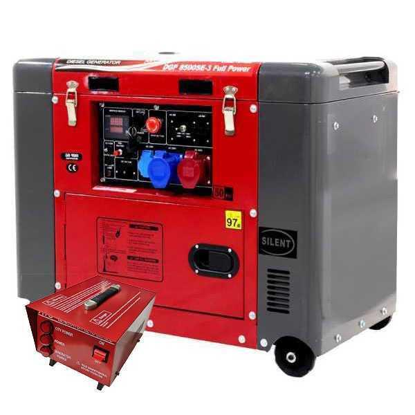 Generatore di corrente 5,5 kW diesel GeoTech Pro DGP8500SE-3 Full-power silenziato + ATS Monofase