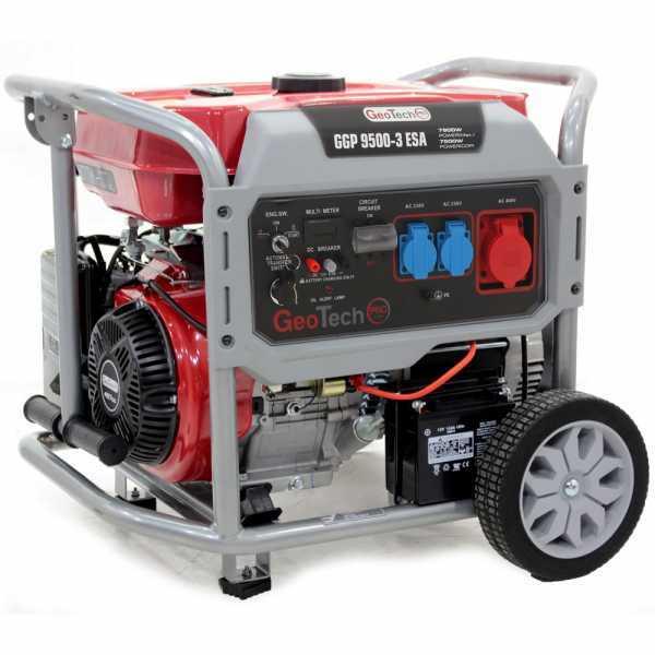 Generatore di corrente 7,5 KW trifase GeoTech Pro GGP 9500-3 ESA carrellato, avv. elettrico