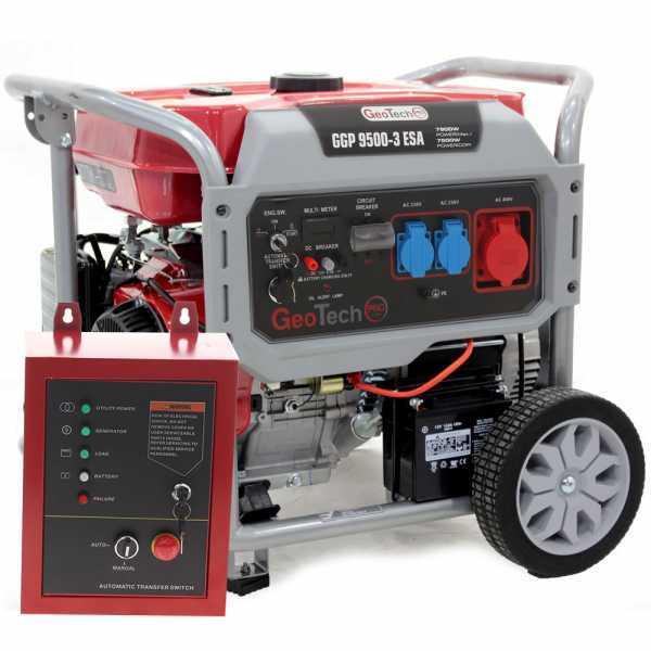 Generatore di corrente 7,5 KW trifase GeoTech Pro GGP 9500-3 ESA con ATS, avv. elettrico