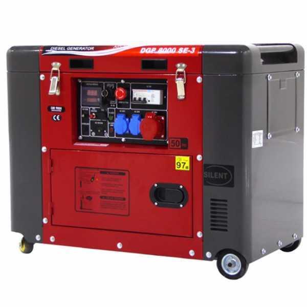 Generatore di corrente 5,5 kW trifase diesel GeoTech Pro DGP8000SE-3 silenziato avv. elettrico